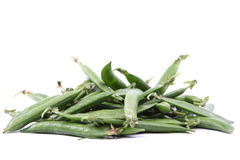 Green pea pods on white background. Stock Images