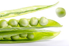 Green Pea seeds jumping Royalty Free Stock Images