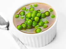 Green pea soup. Close up of a cup of green pea soup Stock Photos