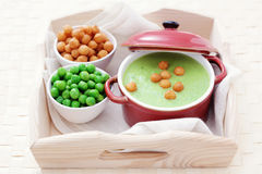 Green pea soup Stock Photography