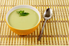 Green Pea soup in a bowl Royalty Free Stock Image