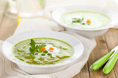 Green pea soup in bowls. Royalty Free Stock Photos