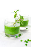 Green pea soup cream Royalty Free Stock Image