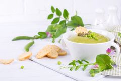 Green pea soup puree with croutons in black bowl. On white. Background stock image