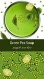 Green pea soup Vector realistic. Menu template top view. Green pea soup Vector realistic illustration. Menu template top view Stock Images
