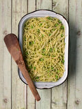 Green pea spaghetti Royalty Free Stock Image