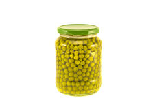 Green pea vegetable canned preserved in glass jar pots isolated Stock Images