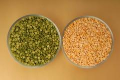 Green pea and yellow pea, split peas. Raw green pea and yellow pea, split peas Stock Photos