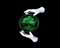 Green peace. Tree within emerald sphere and hands in white gloves making passes above it Royalty Free Stock Photo