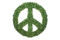 Green Peace. Peace sign hand made of green peas. White background Stock Images