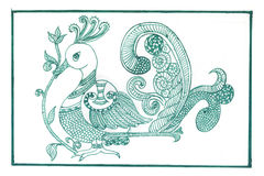 Green Peacock Madhubani. Madhubani art design of peacock in green ink and white background Royalty Free Stock Images