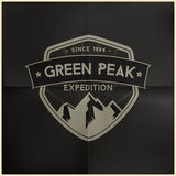 Green Peak Expedition Badge Royalty Free Stock Images