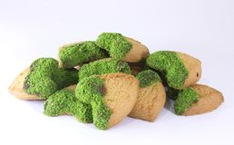Green Peanut Biscuit With Organic Heart royalty free stock images