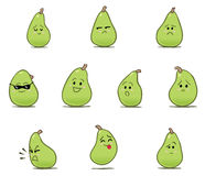 Green Pear Face Cartoons. Cartoon illustration of green pear characters with different facial expressions and emotions Stock Photos