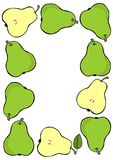 Green pear frame on white fruit illustration Royalty Free Stock Photos