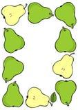 Green pear frame on white fruit illustration Royalty Free Stock Photos