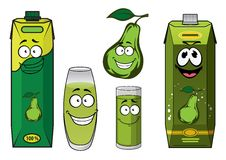Green pear fruit and juice drink characters Stock Images