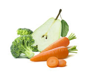 Green pear half broccoli carrots isolated on white background Stock Images