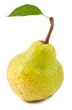 Green pear with leaf Royalty Free Stock Photo