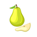 Green pear with leaf and sliced a piece. Isolated object on a white background. Cartoon icon. Vector illustration royalty free illustration