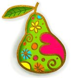 Green Pear Paint Doodle Royalty Free Stock Images