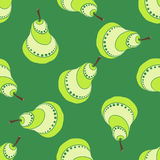 Green Pear Pattern. A lot of green pears on the green background Royalty Free Stock Images