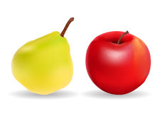 Green Pear and Red Apple Isolated on White Stock Photography