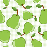 Green Pear Seamless Pattern on Tablecloth Stock Image