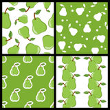Green Pear Seamless Patterns Set Stock Photos