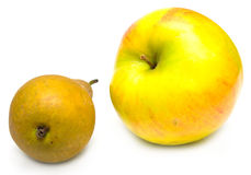 Green pear and yellow apple. Juicy green pear and ripe yellow apple. Isolated, shallow DOF. Focus on yellow apple Royalty Free Stock Photo
