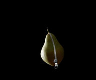 Green pear with zipper Stock Photography