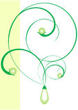 Green pearls. Illustration of a symbolical jeweller ornament. The set beginning Royalty Free Stock Photos