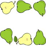 Green pears double horizontal border on white fruit illustration Royalty Free Stock Photos