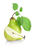 Green pears with green leafs Royalty Free Stock Images
