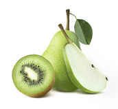 Green pears kiwi half piece isolated on white background Royalty Free Stock Photography