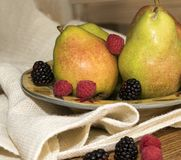 Green Pears with Ripe Berries stock photos
