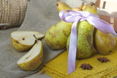 Green pears on a sackcloth Stock Photography