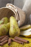 Green pears on a sackcloth Stock Photos