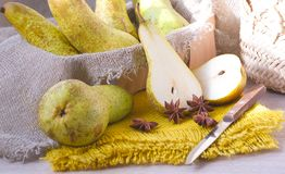 Green pears on a sackcloth Royalty Free Stock Photo