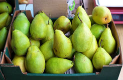 Green pears for sale Royalty Free Stock Images