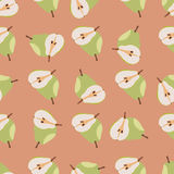 Green pears seamless pattern. Repeating illustrations of pears in pattern Royalty Free Stock Photography