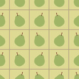 Green pears seamless pattern. Repeating illustrations of pears yellow squared background in pattern Royalty Free Stock Photo