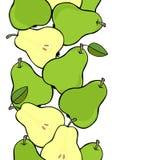 Green pears vertical border on white fruit illustration Royalty Free Stock Image