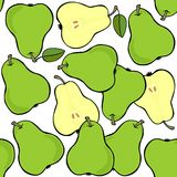 Green pears on white fruit seamless pattern Stock Photo