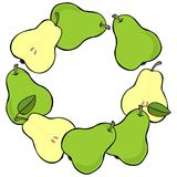 Green pears wreath on white fruit illustration Royalty Free Stock Images