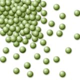 Green peas. Background of scattered grains of green peas Royalty Free Stock Photo