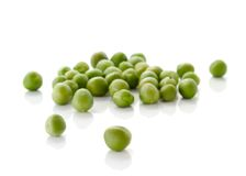 Green peas. Fresh green peas isolated over white background Royalty Free Stock Image