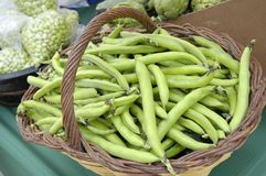 Green peas. Basket of green peas at the market Royalty Free Stock Images