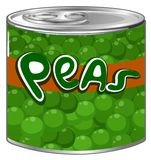 Green peas in aluminum can. Illustration Royalty Free Stock Photo