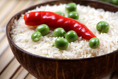 Green peas and basmati rice Royalty Free Stock Photos